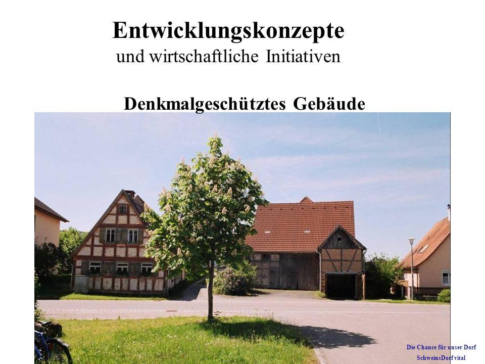 Entwicklungskonzepte und wirtschaftliche Initiativen Denkmalgeschütztes Gebäude Die Chance für unser Dorf SchweinsDorf vital
