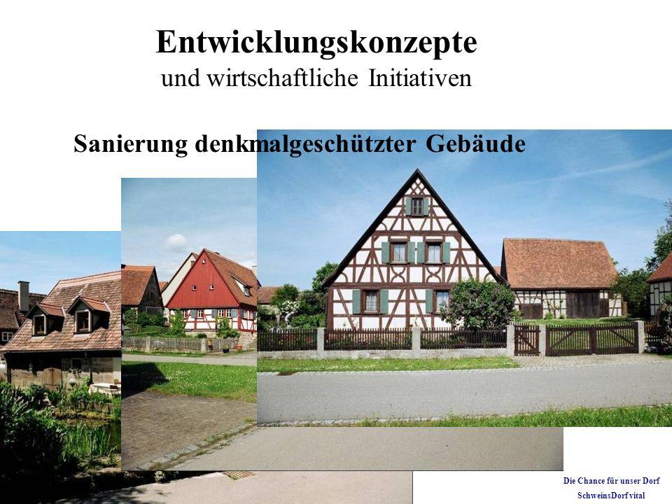 Entwicklungskonzepte und wirtschaftliche Initiativen Sanierung denkmalgeschützter Gebäude Die Chance für unser Dorf SchweinsDorf vital