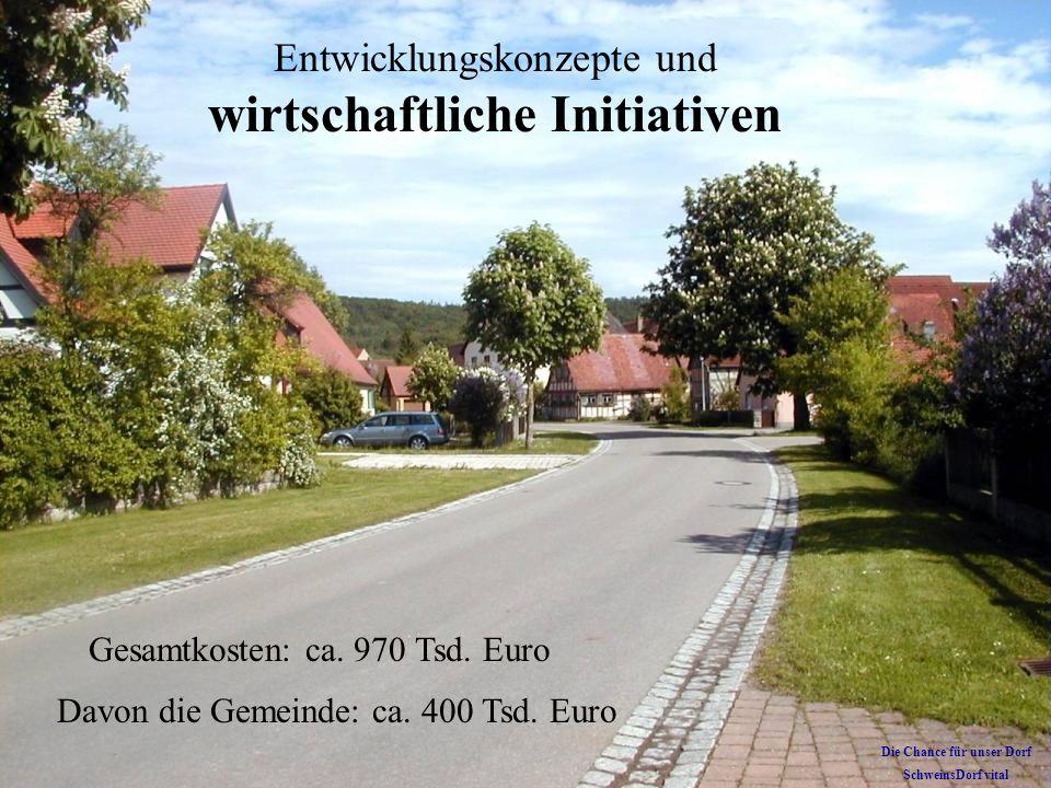 Entwicklungskonzepte und wirtschaftliche Initiativen Gesamtkosten: ca. 970 Tsd. Euro Davon die Gemeinde: ca. 400 Tsd. Euro Die Chance für unser Dorf S
