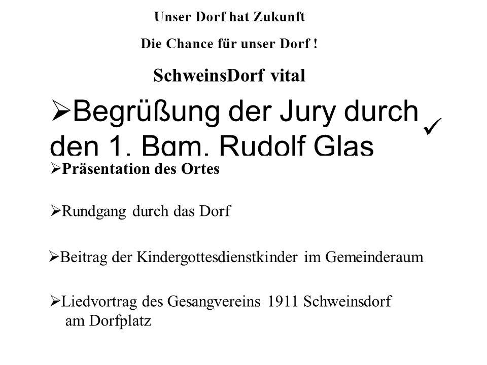 Begrüßung der Jury durch den 1. Bgm. Rudolf Glas Präsentation des Ortes Beitrag der Kindergottesdienstkinder im Gemeinderaum Rundgang durch das Dorf L