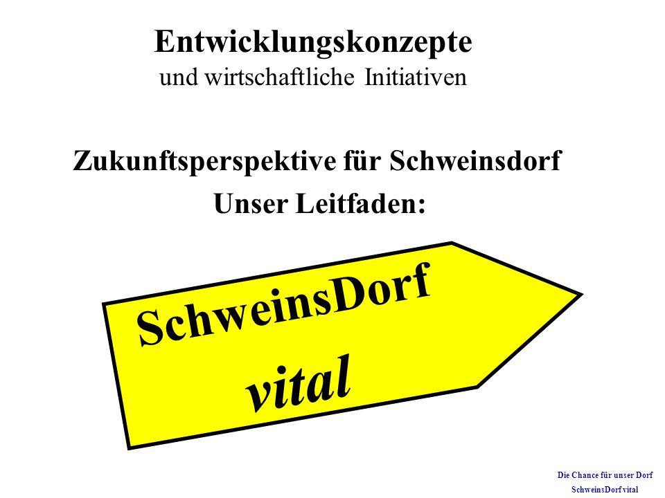 Zukunftsperspektive für Schweinsdorf Unser Leitfaden: Entwicklungskonzepte und wirtschaftliche Initiativen S c h w e i n s D o r f v i t a l Die Chanc