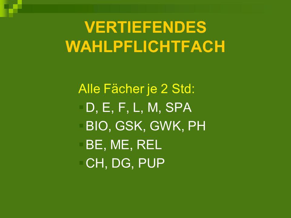 VERTIEFENDES WAHLPFLICHTFACH Alle Fächer je 2 Std: D, E, F, L, M, SPA BIO, GSK, GWK, PH BE, ME, REL CH, DG, PUP