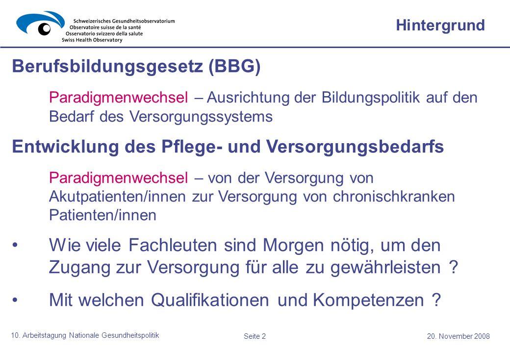 Seite 220. November 2008 10. Arbeitstagung Nationale Gesundheitspolitik Hintergrund Berufsbildungsgesetz (BBG) Paradigmenwechsel – Ausrichtung der Bil