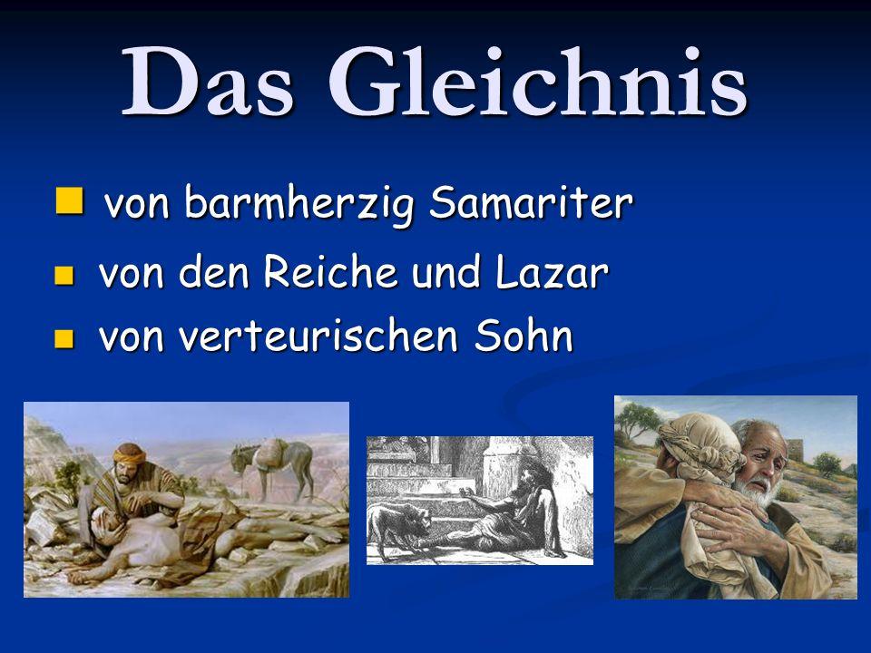 Das Gleichnis von barmherzig Samariter von barmherzig Samariter von den Reiche und Lazar von den Reiche und Lazar von verteurischen Sohn von verteuris