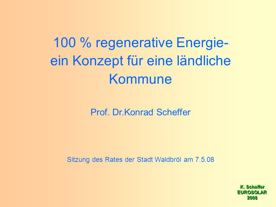 K. Scheffer EUROSOLAR 2008 K. Scheffer EUROSOLAR 2008 100 % regenerative Energie- ein Konzept für eine ländliche Kommune Prof. Dr.Konrad Scheffer Sitz