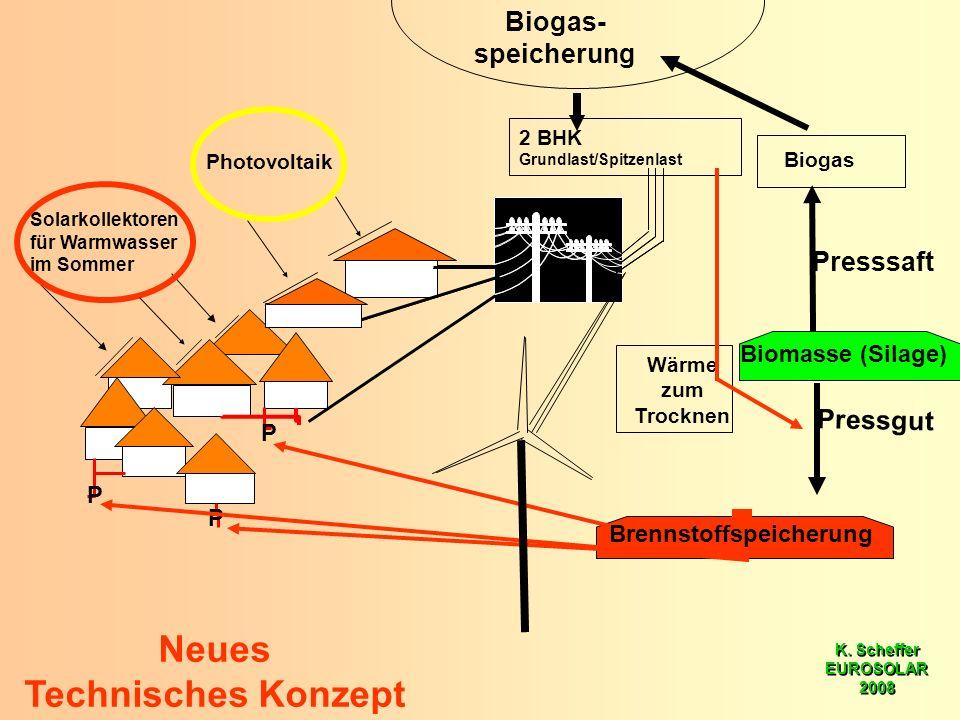 K. Scheffer EUROSOLAR 2008 K. Scheffer EUROSOLAR 2008 Biomasse (Silage) Neues Technisches Konzept Solarkollektoren für Warmwasser im Sommer P P P Pres