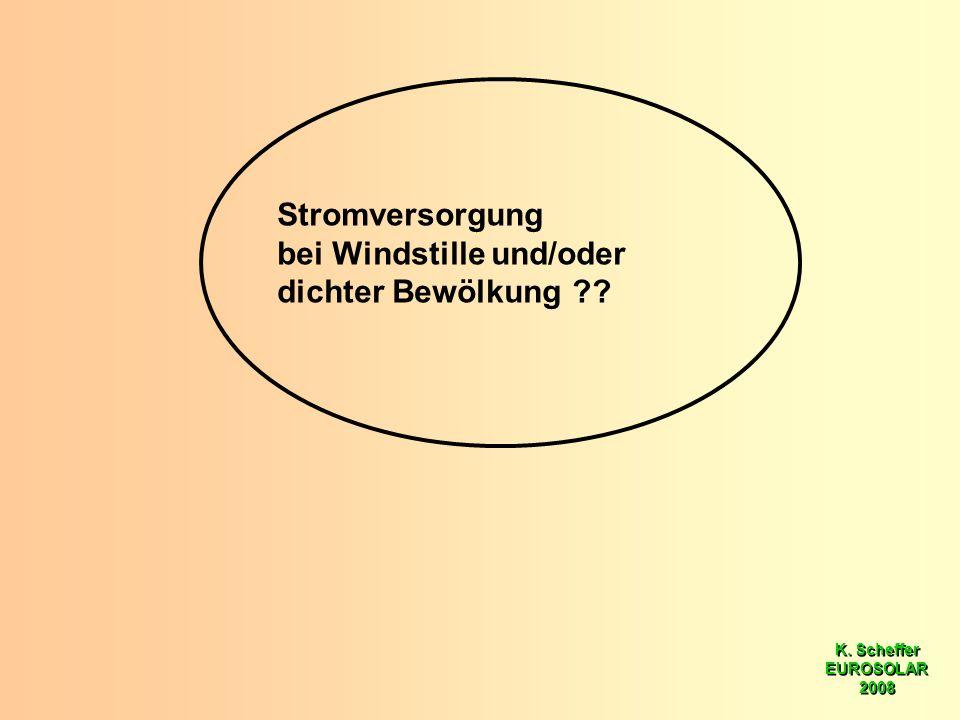 K. Scheffer EUROSOLAR 2008 K. Scheffer EUROSOLAR 2008 Stromversorgung bei Windstille und/oder dichter Bewölkung ??