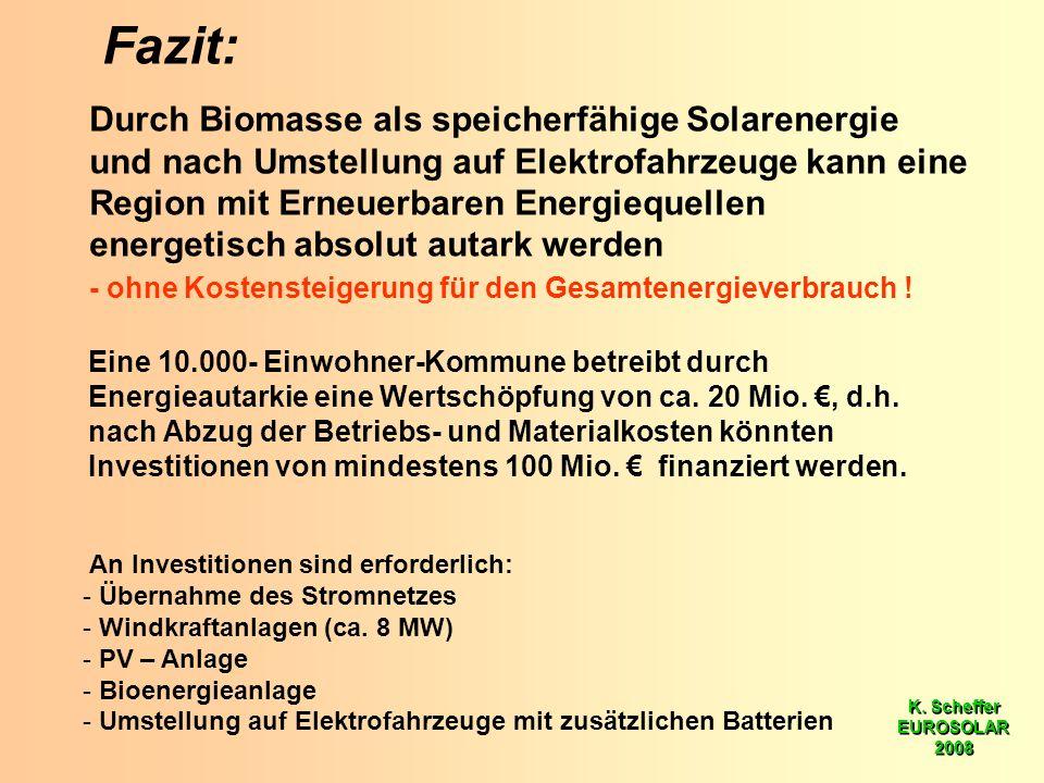 K. Scheffer EUROSOLAR 2008 K. Scheffer EUROSOLAR 2008 Fazit: Durch Biomasse als speicherfähige Solarenergie und nach Umstellung auf Elektrofahrzeuge k