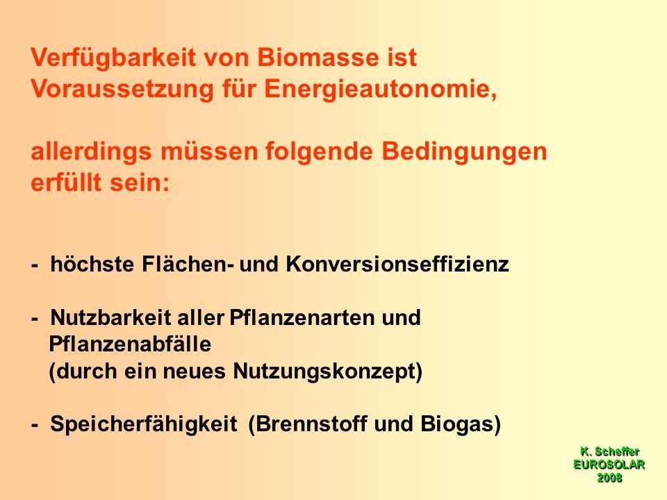 K. Scheffer EUROSOLAR 2008 K. Scheffer EUROSOLAR 2008 Verfügbarkeit von Biomasse ist Voraussetzung für Energieautonomie, allerdings müssen folgende Be