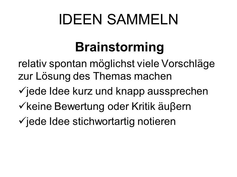 IDEEN SAMMELN Brainstorming relativ spontan möglichst viele Vorschläge zur Lösung des Themas machen jede Idee kurz und knapp aussprechen keine Bewertu