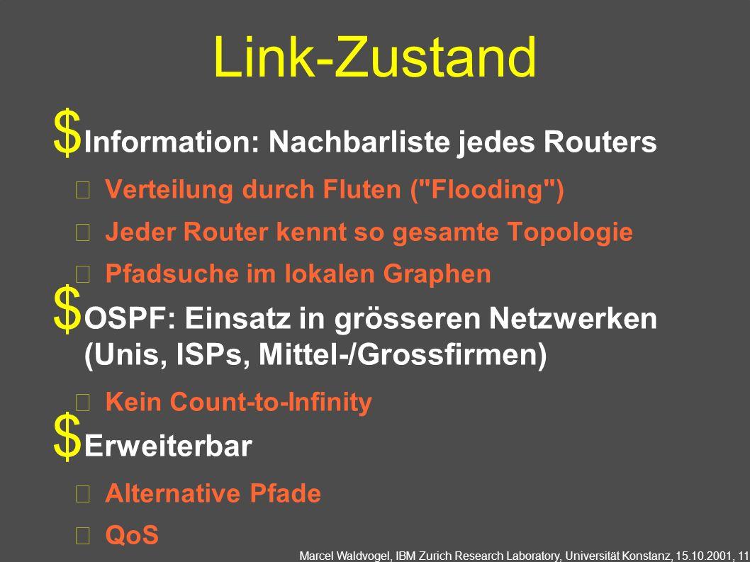 Marcel Waldvogel, IBM Zurich Research Laboratory, Universität Konstanz, 15.10.2001, 11 Link-Zustand Information: Nachbarliste jedes Routers Verteilung