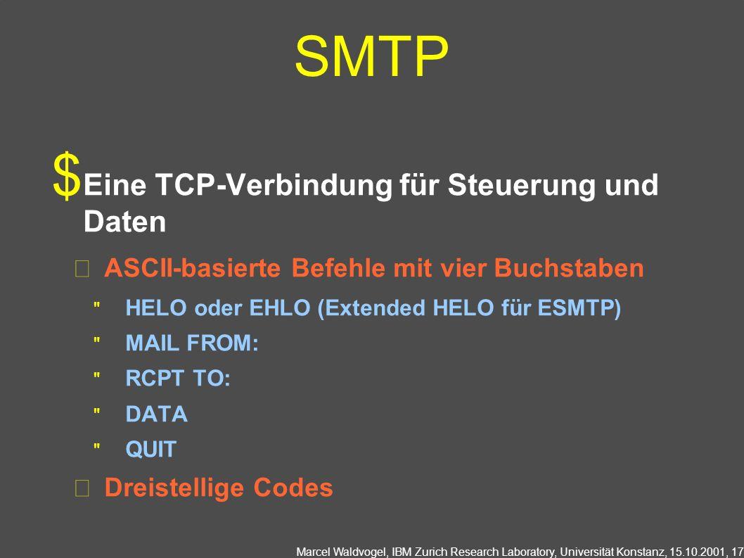 Marcel Waldvogel, IBM Zurich Research Laboratory, Universität Konstanz, 15.10.2001, 17 SMTP Eine TCP-Verbindung für Steuerung und Daten ASCII-basierte Befehle mit vier Buchstaben HELO oder EHLO (Extended HELO für ESMTP) MAIL FROM: RCPT TO: DATA QUIT Dreistellige Codes