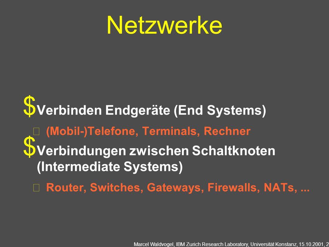 Marcel Waldvogel, IBM Zurich Research Laboratory, Universität Konstanz, 15.10.2001, 2 Netzwerke Verbinden Endgeräte (End Systems) (Mobil-)Telefone, Terminals, Rechner Verbindungen zwischen Schaltknoten (Intermediate Systems) Router, Switches, Gateways, Firewalls, NATs,...
