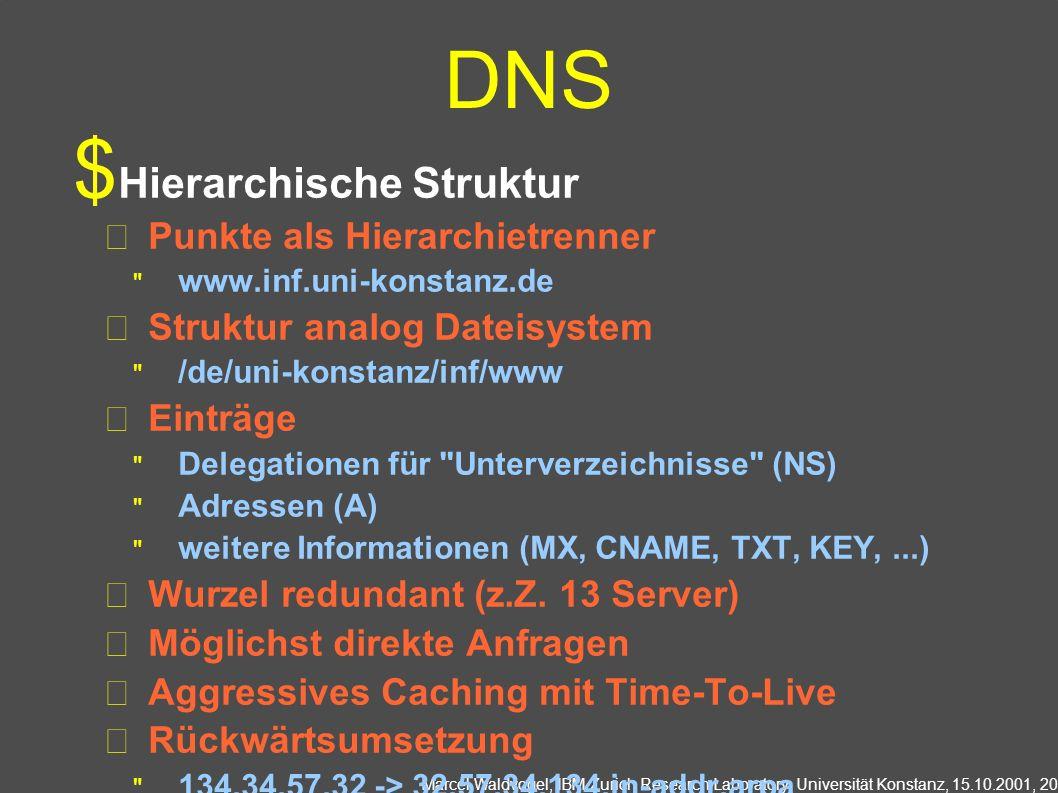 Marcel Waldvogel, IBM Zurich Research Laboratory, Universität Konstanz, 15.10.2001, 20 DNS Hierarchische Struktur Punkte als Hierarchietrenner www.inf.uni-konstanz.de Struktur analog Dateisystem /de/uni-konstanz/inf/www Einträge Delegationen für Unterverzeichnisse (NS) Adressen (A) weitere Informationen (MX, CNAME, TXT, KEY,...) Wurzel redundant (z.Z.