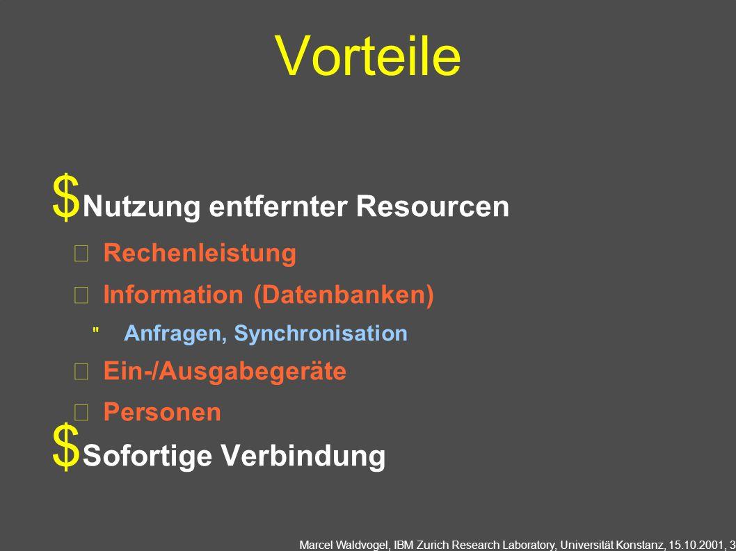 Marcel Waldvogel, IBM Zurich Research Laboratory, Universität Konstanz, 15.10.2001, 3 Vorteile Nutzung entfernter Resourcen Rechenleistung Information
