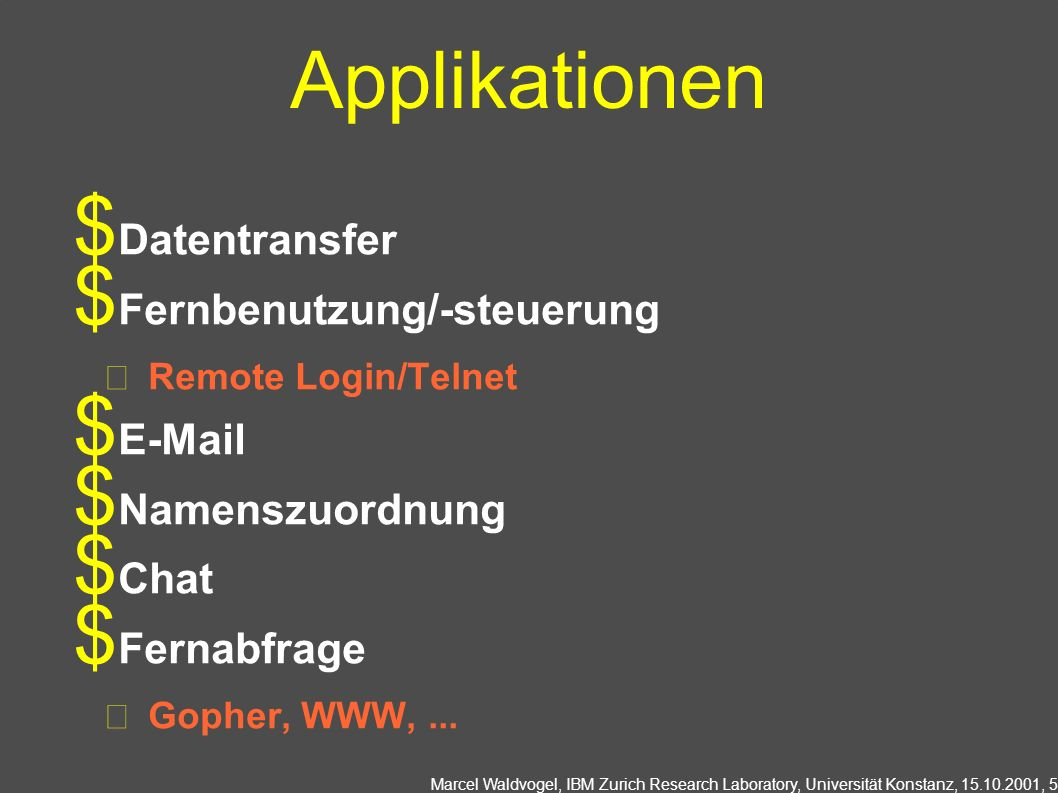 Marcel Waldvogel, IBM Zurich Research Laboratory, Universität Konstanz, 15.10.2001, 5 Applikationen Datentransfer Fernbenutzung/-steuerung Remote Login/Telnet E-Mail Namenszuordnung Chat Fernabfrage Gopher, WWW,...