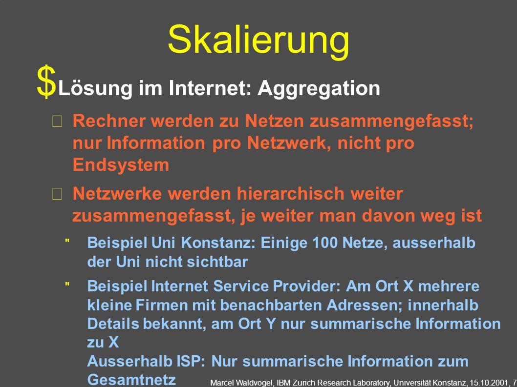 Marcel Waldvogel, IBM Zurich Research Laboratory, Universität Konstanz, 15.10.2001, 7 Skalierung Lösung im Internet: Aggregation Rechner werden zu Net