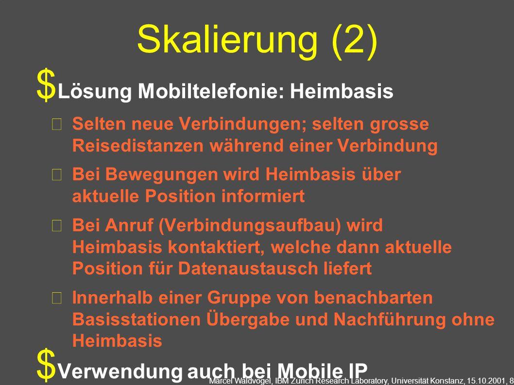 Marcel Waldvogel, IBM Zurich Research Laboratory, Universität Konstanz, 15.10.2001, 8 Skalierung (2) Lösung Mobiltelefonie: Heimbasis Selten neue Verb