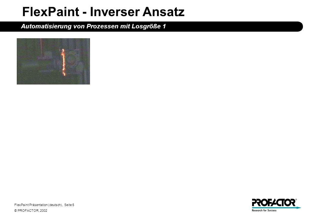 FlexPaint Präsentation (deutsch), Seite 5 © PROFACTOR, 2002 FlexPaint - Inverser Ansatz Automatisierung von Prozessen mit Losgröße 1