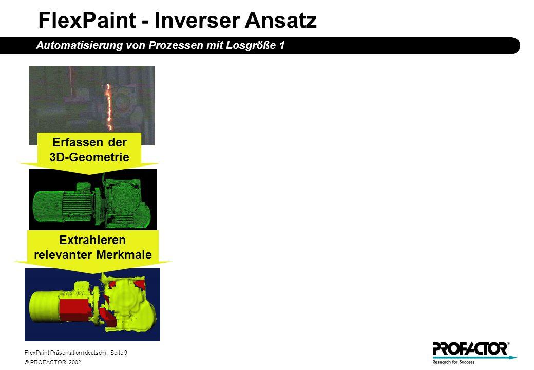 FlexPaint Präsentation (deutsch), Seite 9 © PROFACTOR, 2002 FlexPaint - Inverser Ansatz Automatisierung von Prozessen mit Losgröße 1 Erfassen der 3D-Geometrie Extrahieren relevanter Merkmale