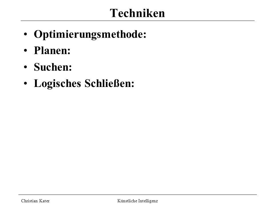 Christian Kater Künstliche Intelligenz Methoden Zwei Dimensionen: Symbolische KI vs. Neuronale KI Simulationsmethode vs. Phänomenmethode Neuronale: ge
