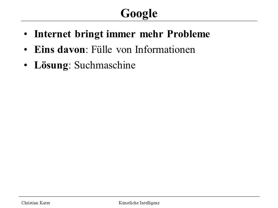 Christian Kater Künstliche Intelligenz Techniken Optimierungsmethode: Planen: Suchen: Logisches Schließen: