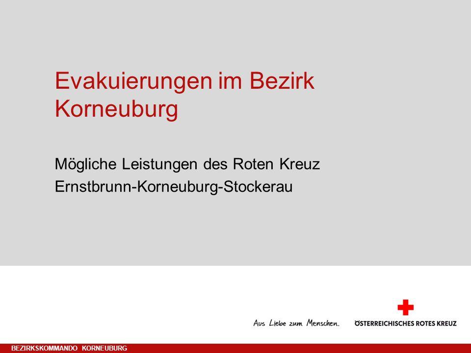 Evakuierungen im Bezirk Korneuburg Mögliche Leistungen des Roten Kreuz Ernstbrunn-Korneuburg-Stockerau BEZIRKSKOMMANDO KORNEUBURG