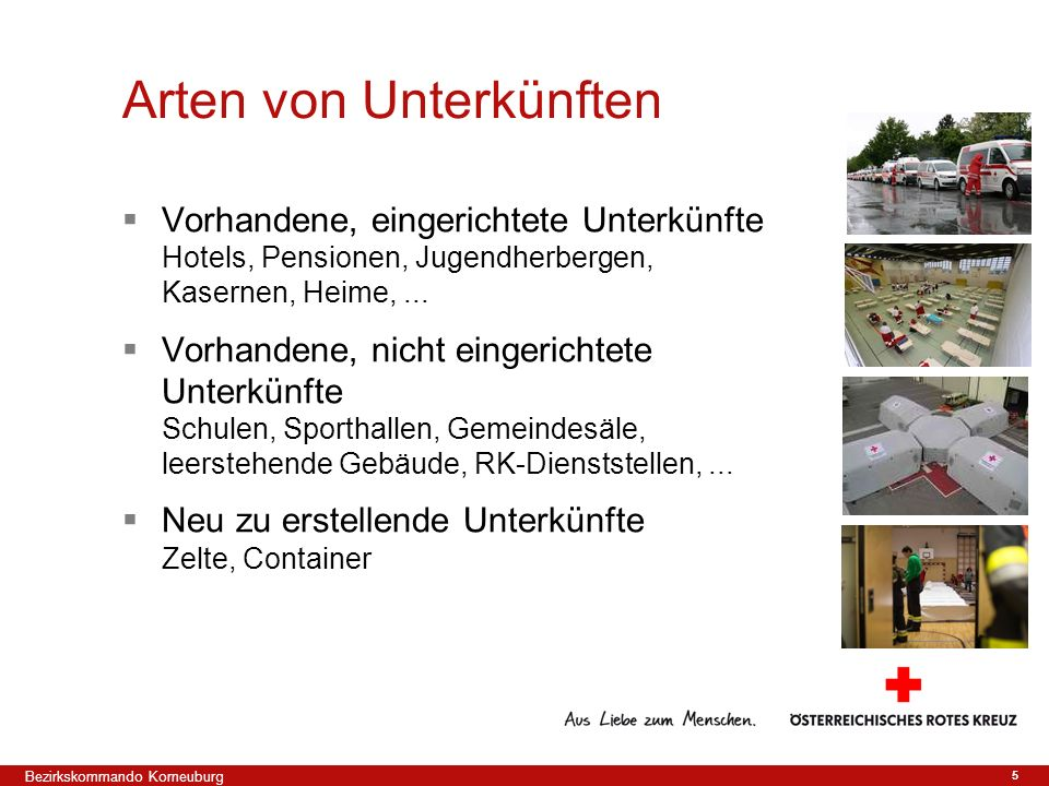 5 Vorhandene, eingerichtete Unterkünfte Hotels, Pensionen, Jugendherbergen, Kasernen, Heime,... Vorhandene, nicht eingerichtete Unterkünfte Schulen, S