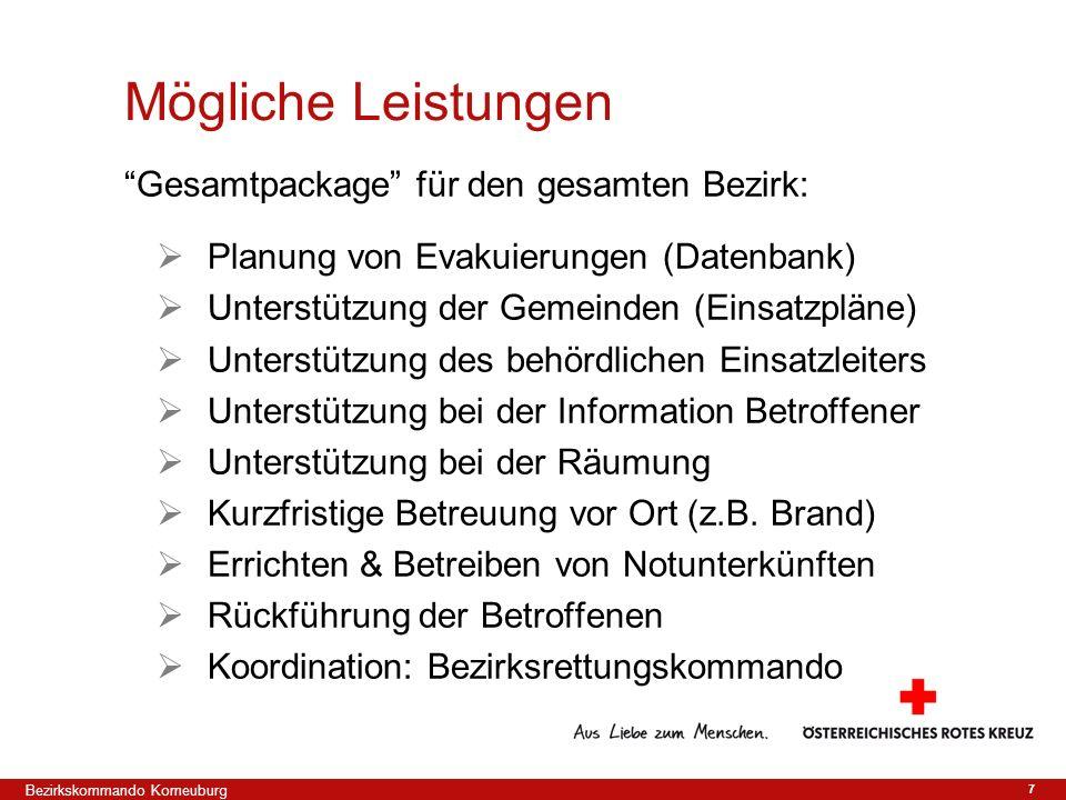 7 Gesamtpackage für den gesamten Bezirk: Planung von Evakuierungen (Datenbank) Unterstützung der Gemeinden (Einsatzpläne) Unterstützung des behördlich