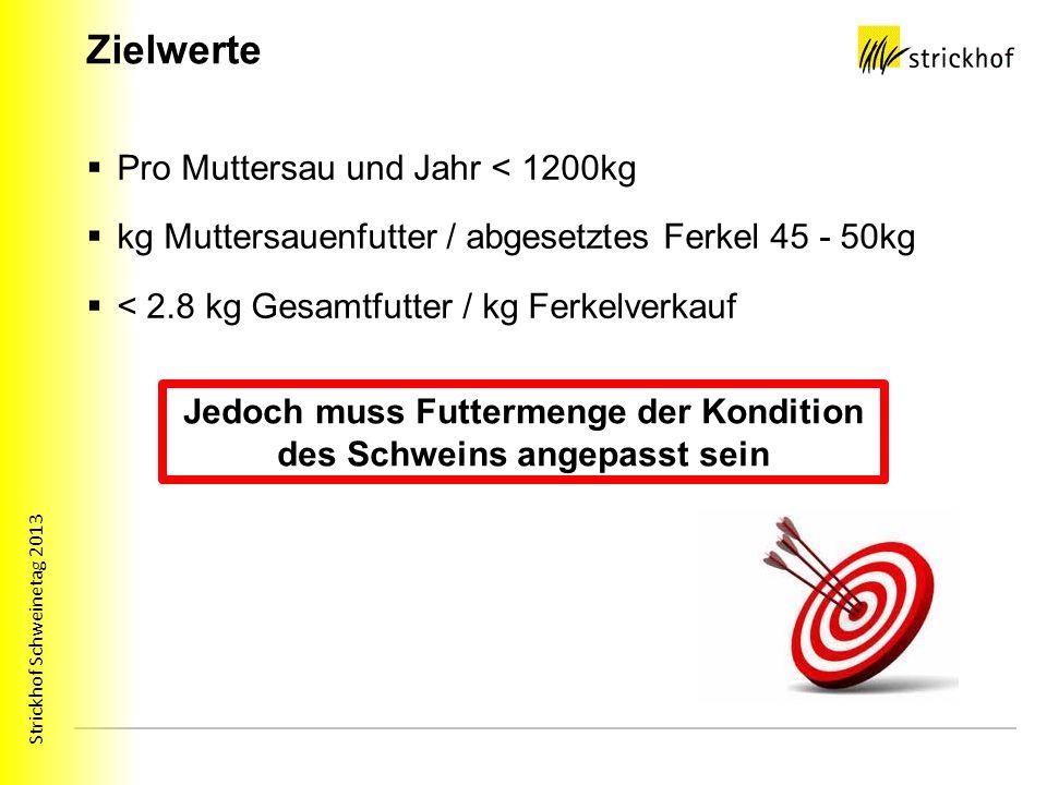 Strickhof Schweinetag 2013 Zielwerte Pro Muttersau und Jahr < 1200kg kg Muttersauenfutter / abgesetztes Ferkel 45 - 50kg < 2.8 kg Gesamtfutter / kg Ferkelverkauf Jedoch muss Futtermenge der Kondition des Schweins angepasst sein