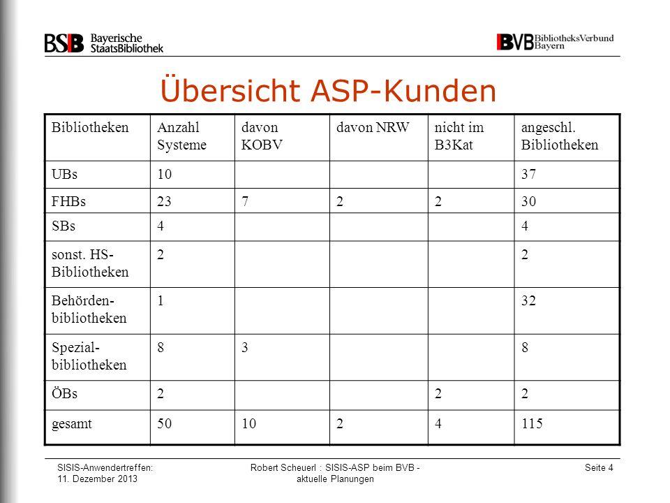 SISIS-Anwendertreffen: 11. Dezember 2013 Robert Scheuerl : SISIS-ASP beim BVB - aktuelle Planungen Seite 4 Übersicht ASP-Kunden BibliothekenAnzahl Sys