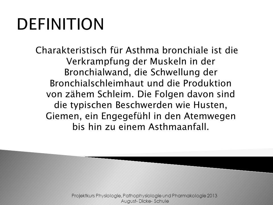 Charakteristisch für Asthma bronchiale ist die Verkrampfung der Muskeln in der Bronchialwand, die Schwellung der Bronchialschleimhaut und die Produkti