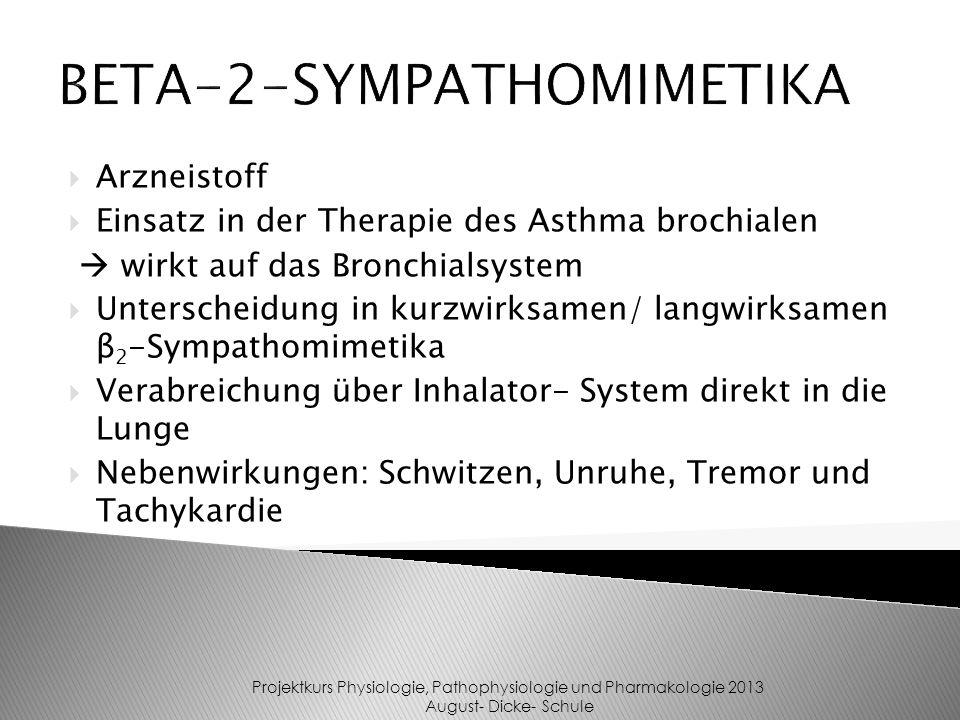 Arzneistoff Einsatz in der Therapie des Asthma brochialen wirkt auf das Bronchialsystem Unterscheidung in kurzwirksamen/ langwirksamen β 2 -Sympathomi