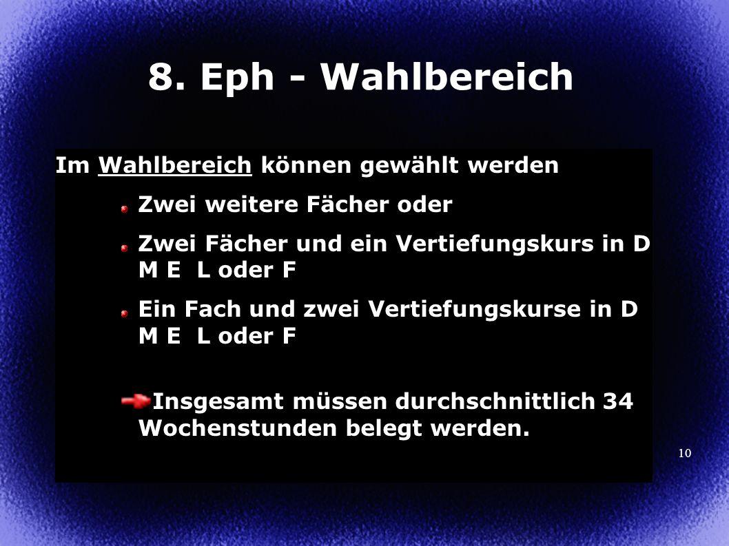10 8. Eph - Wahlbereich Im Wahlbereich können gewählt werden Zwei weitere Fächer oder Zwei Fächer und ein Vertiefungskurs in D M E L oder F Ein Fach u
