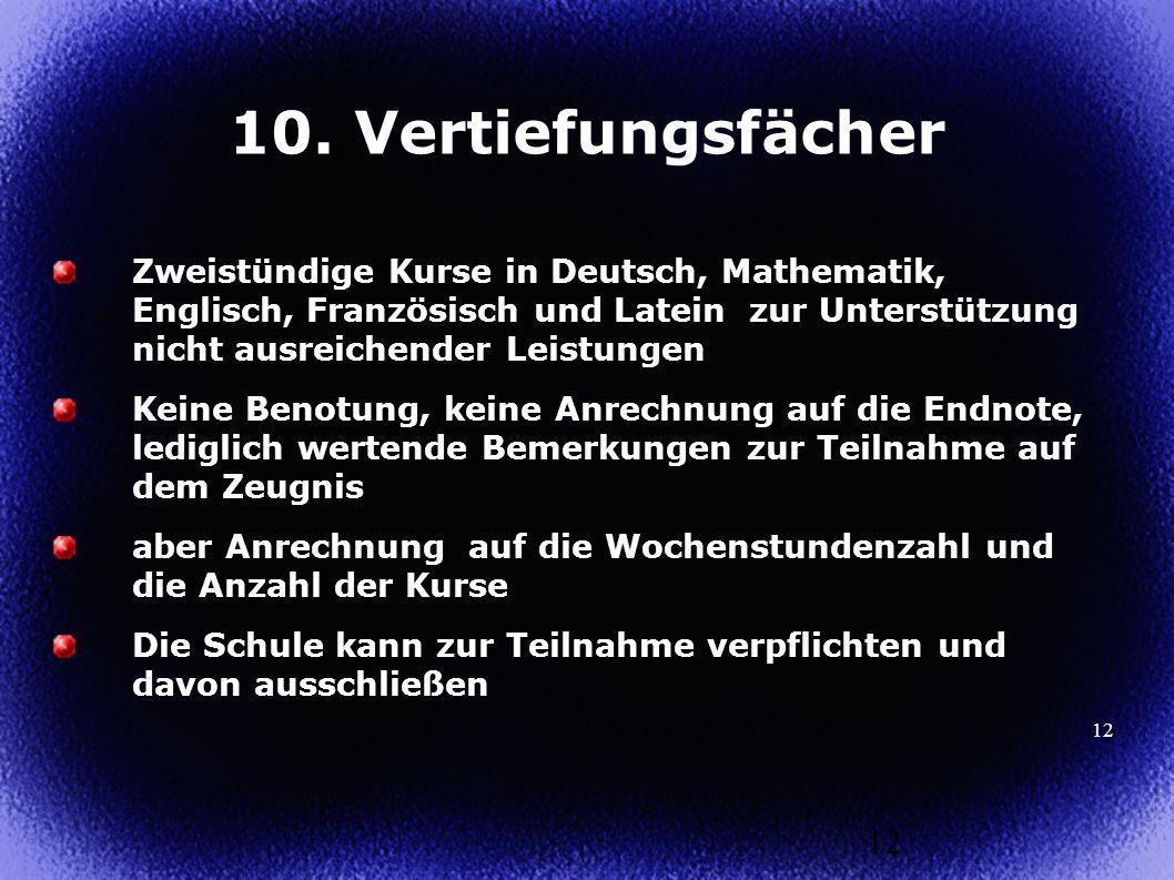 12 Zweistündige Kurse in Deutsch, Mathematik, Englisch, Französisch und Latein zur Unterstützung nicht ausreichender Leistungen Keine Benotung, keine