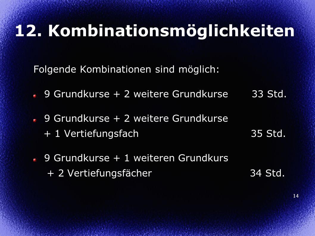 14 12. Kombinationsmöglichkeiten Folgende Kombinationen sind möglich: 9 Grundkurse + 2 weitere Grundkurse 33 Std. 9 Grundkurse + 2 weitere Grundkurse