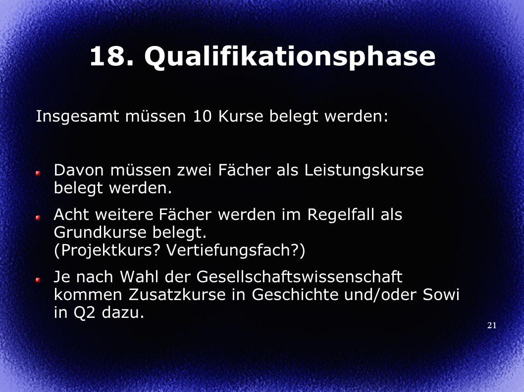 21 18. Qualifikationsphase Insgesamt müssen 10 Kurse belegt werden: Davon müssen zwei Fächer als Leistungskurse belegt werden. Acht weitere Fächer wer