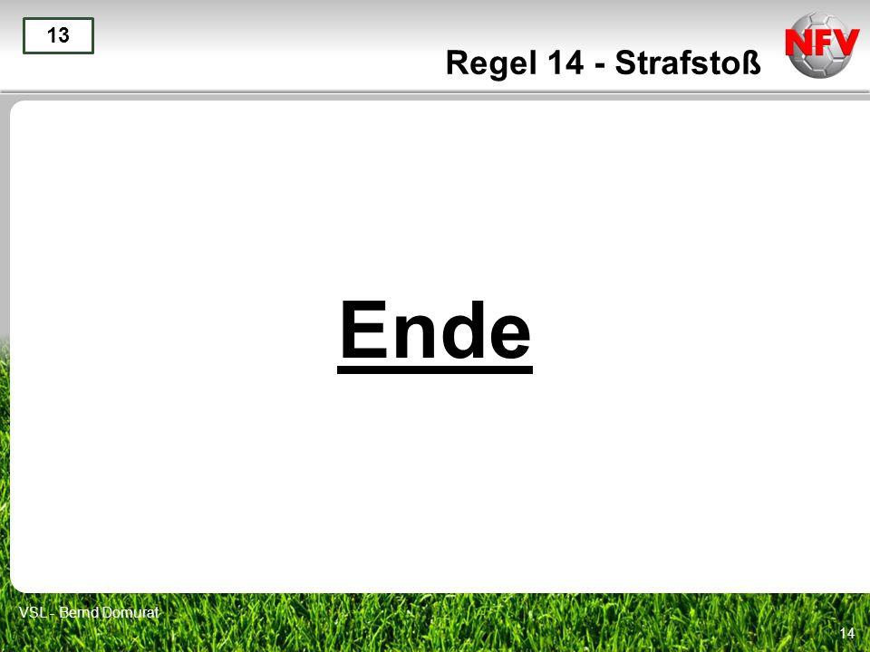 14 Ende 13 VSL - Bernd Domurat Regel 14 - Strafstoß