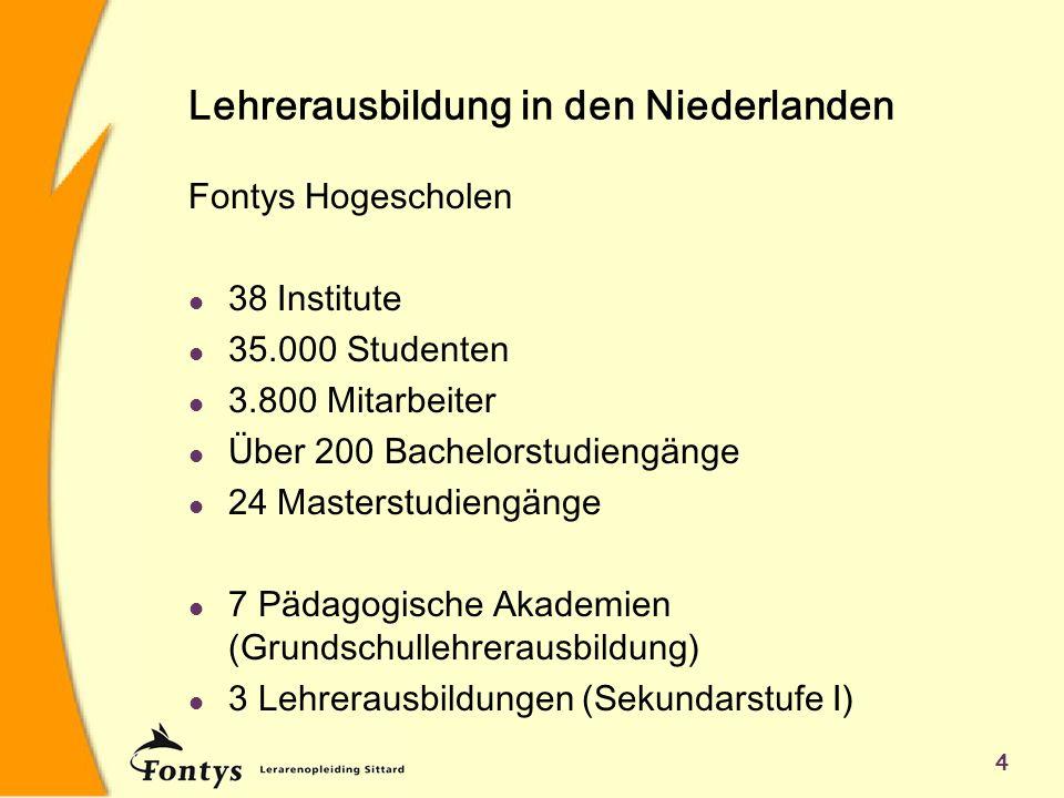 4 Lehrerausbildung in den Niederlanden Fontys Hogescholen l 38 Institute l 35.000 Studenten l 3.800 Mitarbeiter l Über 200 Bachelorstudiengänge l 24 M