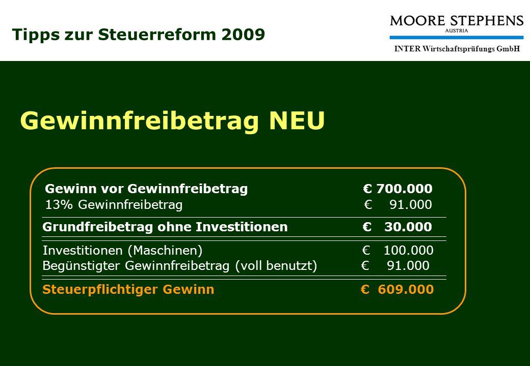 Tipps zur Steuerreform 2009 INTER Wirtschaftsprüfungs GmbH Gewinnfreibetrag NEU Gewinn vor Gewinnfreibetrag 700.000 Investitionen (Maschinen) 100.000
