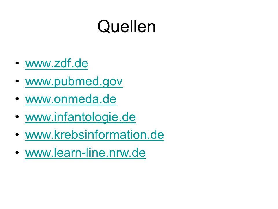 Quellen www.zdf.de www.pubmed.gov www.onmeda.de www.infantologie.de www.krebsinformation.de www.learn-line.nrw.de