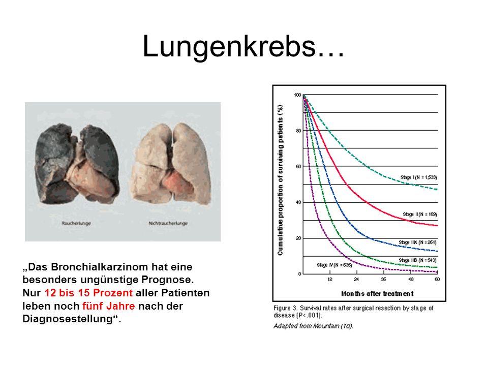 Lungenkrebs… Das Bronchialkarzinom hat eine besonders ungünstige Prognose.