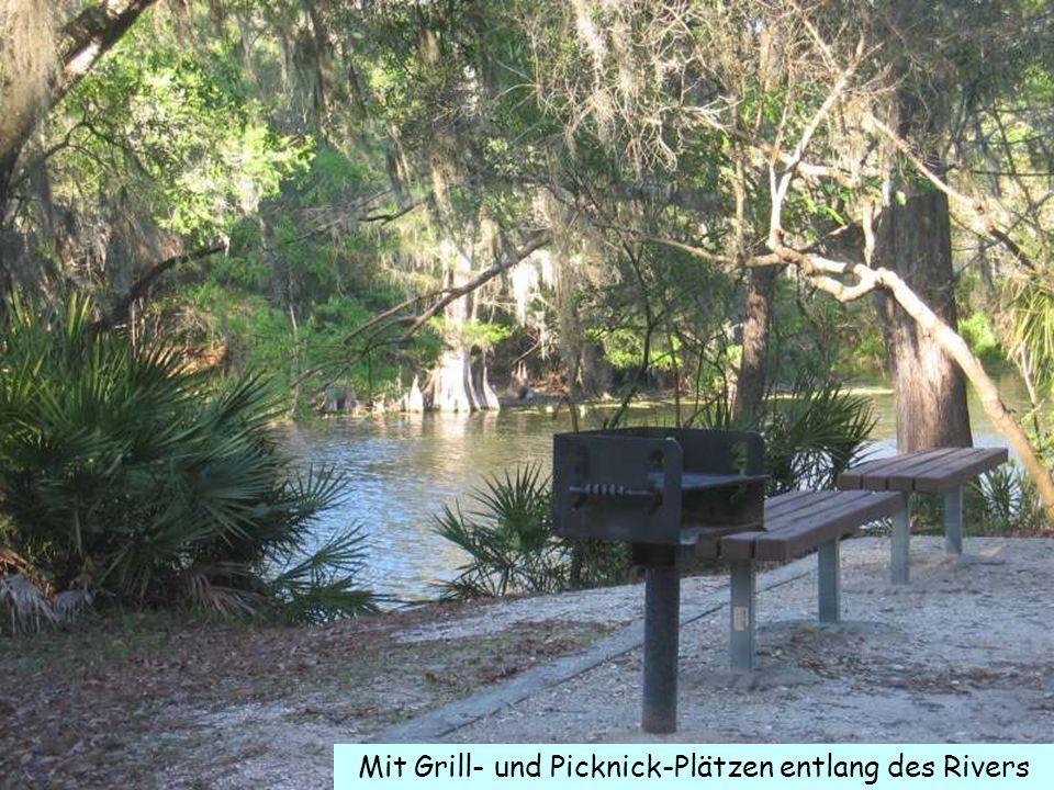 Mit Grill- und Picknick-Plätzen entlang des Rivers