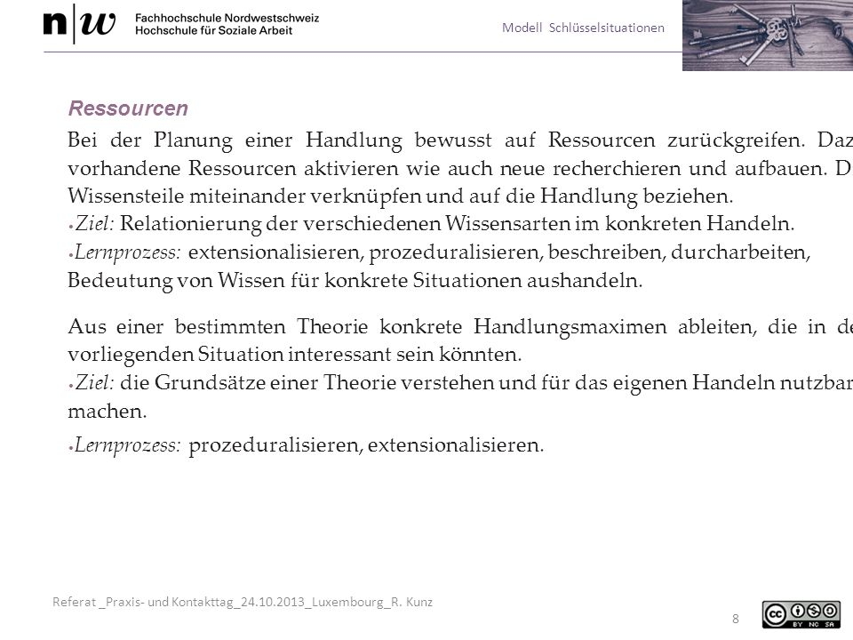 Referat _Praxis- und Kontakttag_24.10.2013_Luxembourg_R. Kunz Modell Schlüsselsituationen 8 Ressourcen Bei der Planung einer Handlung bewusst auf Ress