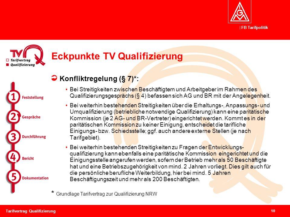 FB Tarifpolitik 10 Tarifvertrag Qualifizierung Eckpunkte TV Qualifizierung Konfliktregelung (§ 7)*: Bei Streitigkeiten zwischen Beschäftigtem und Arbeitgeber im Rahmen des Qualifizierungsgesprächs (§ 4) befassen sich AG und BR mit der Angelegenheit.