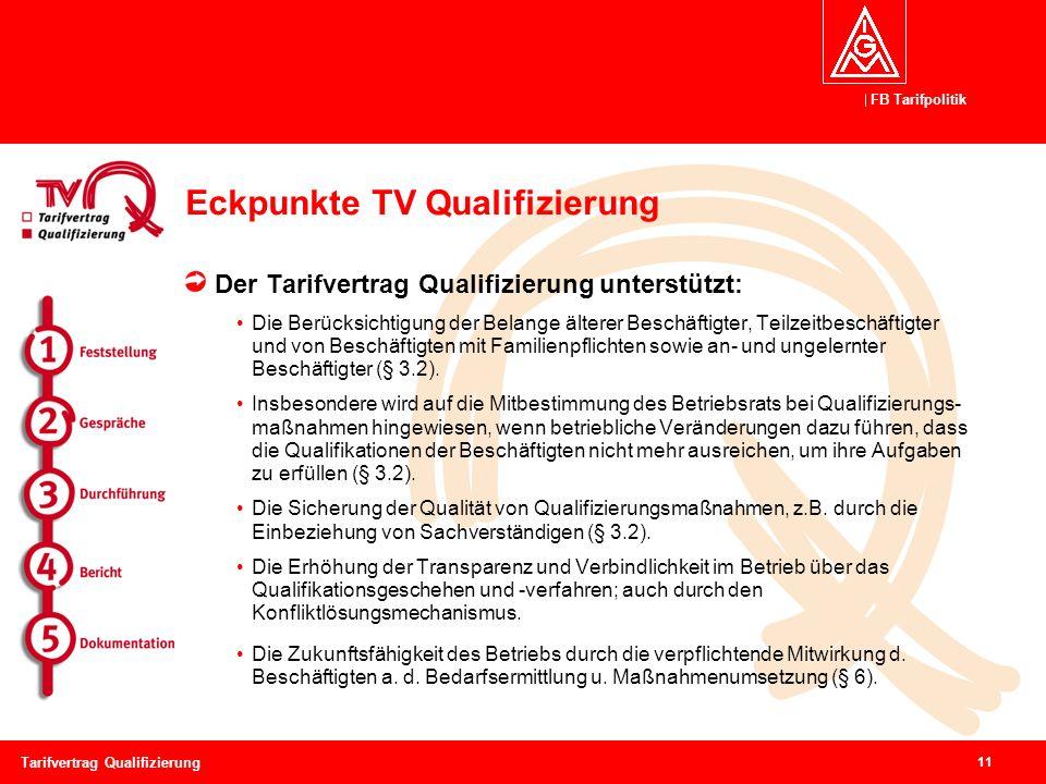 FB Tarifpolitik 11 Tarifvertrag Qualifizierung Eckpunkte TV Qualifizierung Der Tarifvertrag Qualifizierung unterstützt: Die Berücksichtigung der Belange älterer Beschäftigter, Teilzeitbeschäftigter und von Beschäftigten mit Familienpflichten sowie an- und ungelernter Beschäftigter (§ 3.2).