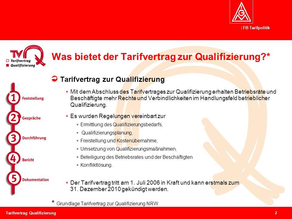 FB Tarifpolitik 2 Tarifvertrag Qualifizierung Was bietet der Tarifvertrag zur Qualifizierung?* Tarifvertrag zur Qualifizierung Mit dem Abschluss des Tarifvertrages zur Qualifizierung erhalten Betriebsräte und Beschäftigte mehr Rechte und Verbindlichkeiten im Handlungsfeld betrieblicher Qualifizierung.