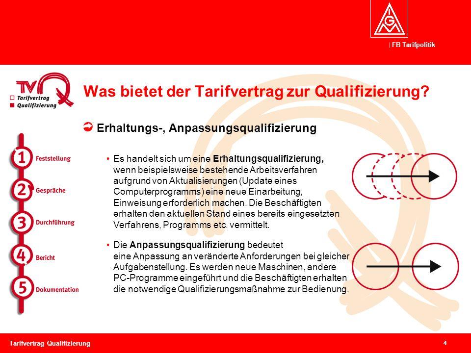 FB Tarifpolitik 4 Tarifvertrag Qualifizierung Was bietet der Tarifvertrag zur Qualifizierung? Erhaltungs-, Anpassungsqualifizierung Es handelt sich um