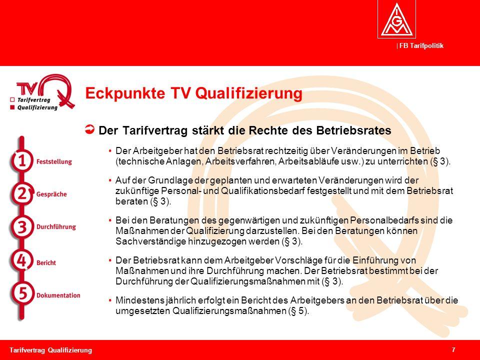 FB Tarifpolitik 7 Tarifvertrag Qualifizierung Eckpunkte TV Qualifizierung Der Tarifvertrag stärkt die Rechte des Betriebsrates Der Arbeitgeber hat den