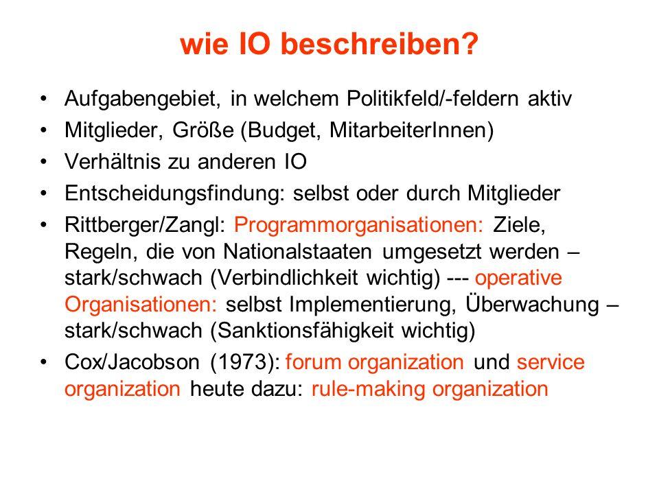 wie IO beschreiben? Aufgabengebiet, in welchem Politikfeld/-feldern aktiv Mitglieder, Größe (Budget, MitarbeiterInnen) Verhältnis zu anderen IO Entsch